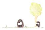 Boules de Poil, Jeu de cache cache, dessin à l'encre de chine et aux crayons de couleur, 15x21 cm