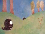 Boules de Poil, Promenons nous dans les bois, illustration encre de chine et peinture acrylique, 21x29,7 cm