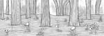 Forêt de champignons, encre de chine et feutres fins