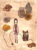 Hibou et fillette, 2016, collages, broue de noix, feutres fins et encres