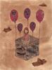 Montgolfière,  2016, collages, broue de noix, feutres fins et encres