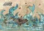 Baleine, 2017, collages, broue de noix, feutres fins et encres