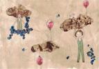 Enfants nuages, 2017, collages, broue de noix, feutres fins et encres