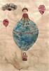 Enfants en montgolfière, 2017, collages, broue de noix, feutres fins et encres