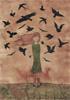 Fille aux oiseaux, 2017, collages, broue de noix, feutres fins et encres