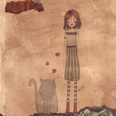 Fille au chat